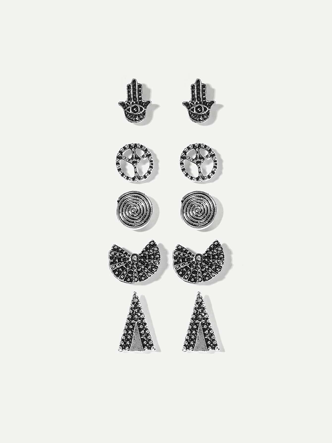 Grey 5pairs Hand & Triangle Silver Stud Earrings