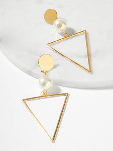 Golden Triangle With Pearls Open 1 Pair Dangle Earrings