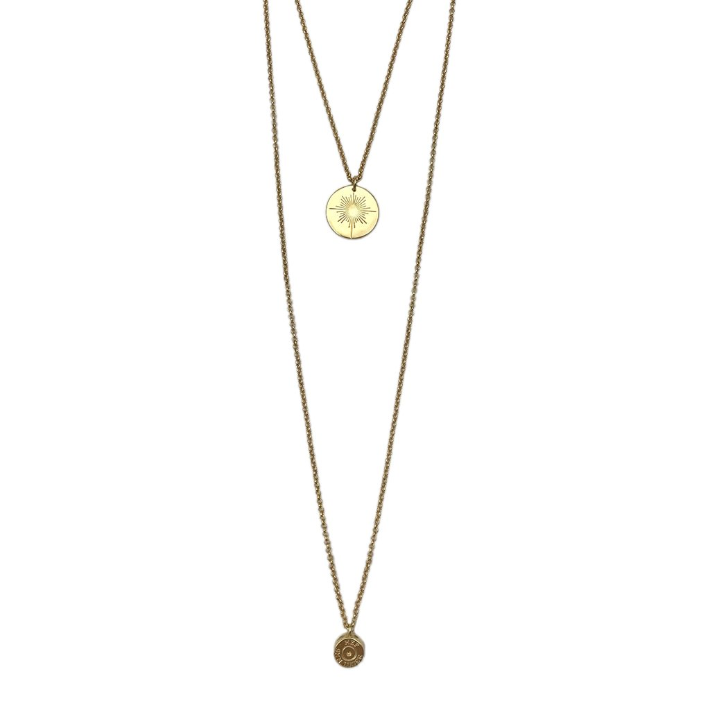 Golden Double Layered North Star Bullet Pendent Necklace