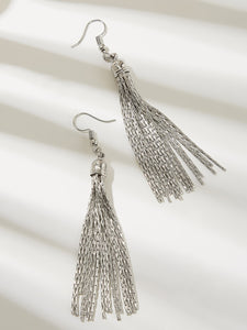 Grey 1pair Tassel Decor Metal Drop Dangle Earrings