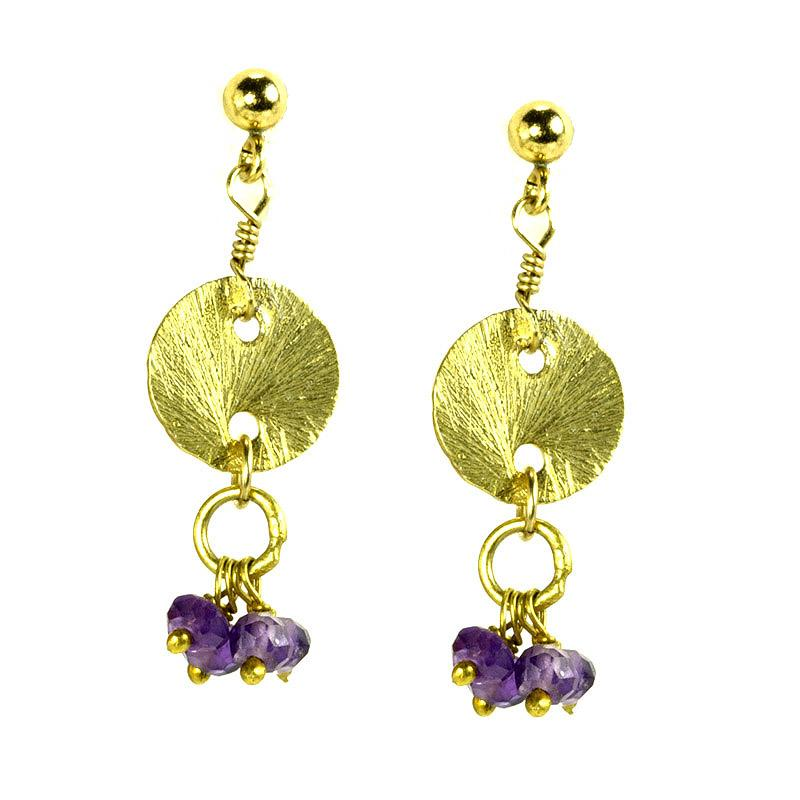 Vermeil With Amethyst Charms Disk Drop Gold Dangle Earrings