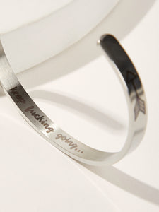 Silver Letter & Arrow Detail 1pc Cuff Bangle Bracelet