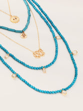 Load image into Gallery viewer, Multi Layered Golden Coin With Blue Beaded Pendant 5pcs Necklace