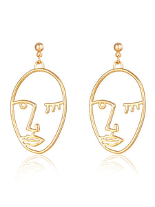 Golden Open Face 1 Pair Dangle Earrings