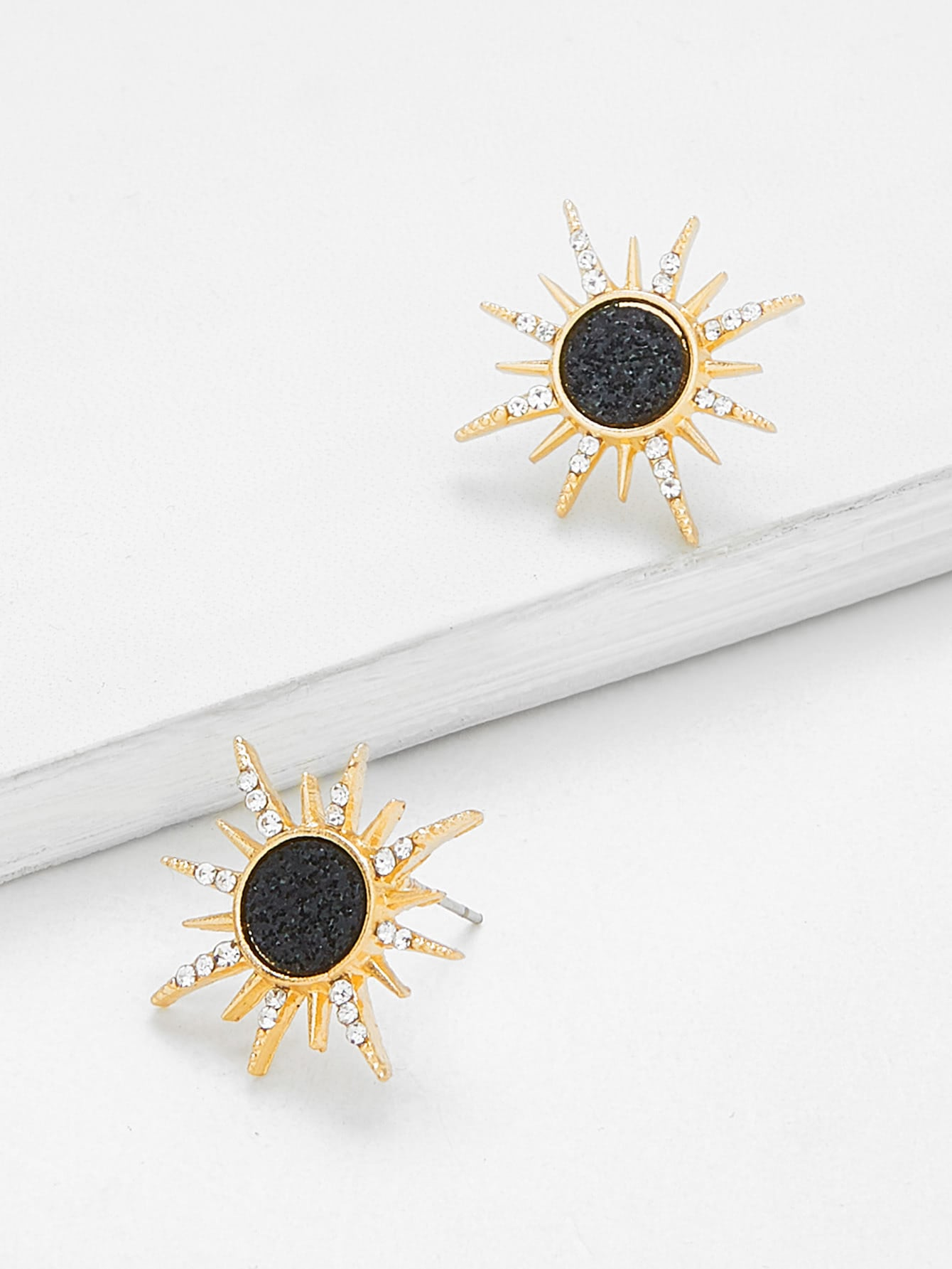 Golden And Black Sun God Stud 1 Pair Earrings