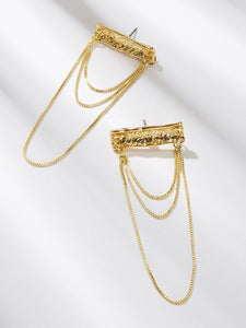 1 Pair Golden Layered Chain Drop Textured Dangle Earring