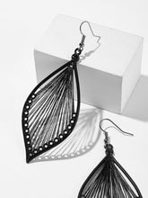 Load image into Gallery viewer, Black Grey 1pair Leaf Shaped Silver Metallic Hollow Drop Dangle Earrings