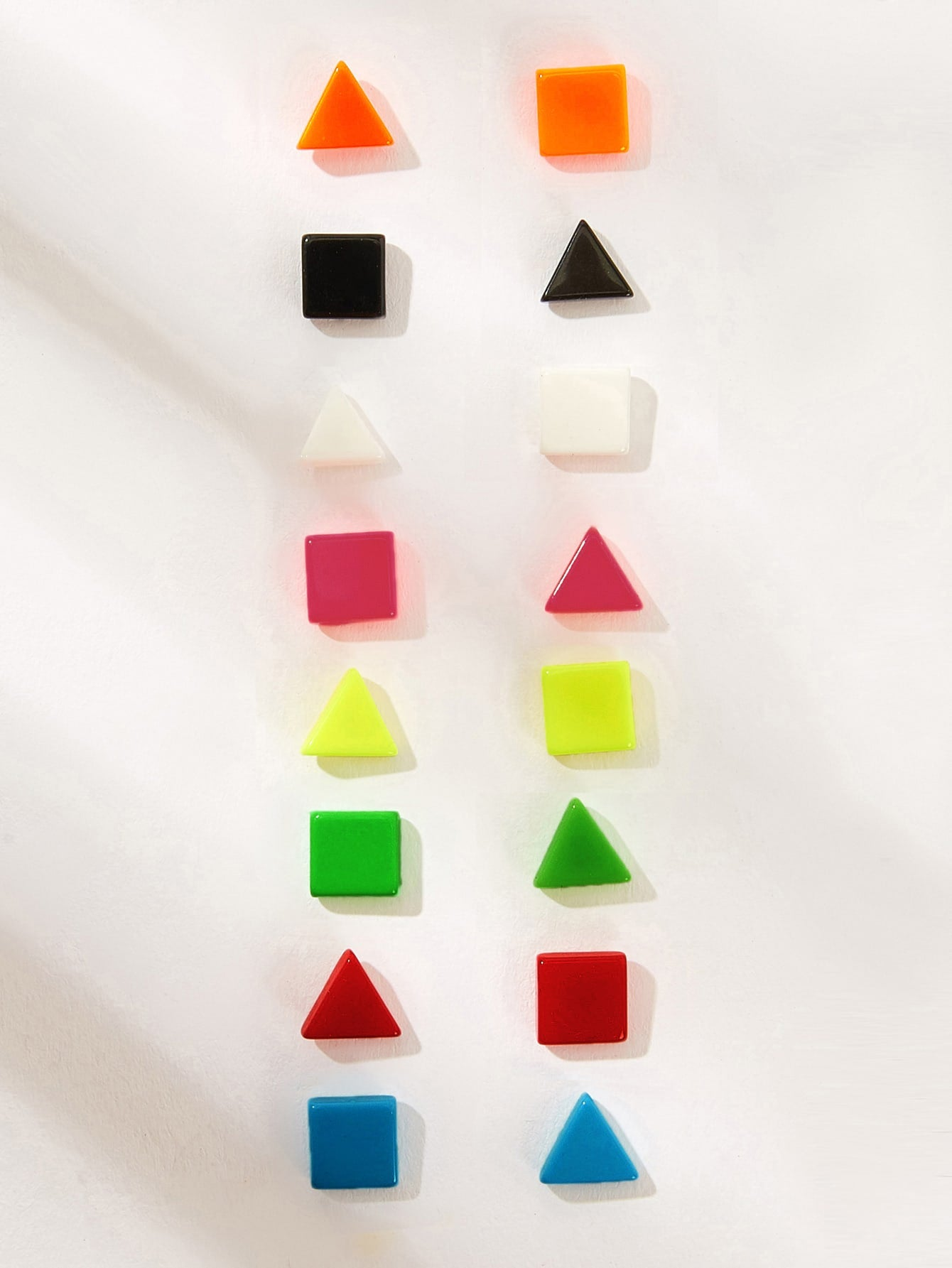 Multicolor 8pairs Geometric Shaped Silver Stud Earring