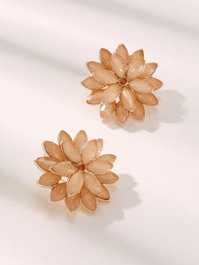 Pink Flower Shaped 1pair Stud Earring
