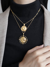 Load image into Gallery viewer, Double Layered Golden Coin Pendant Chain Necklace
