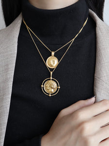 Double Layered Golden Coin Pendant Chain Necklace
