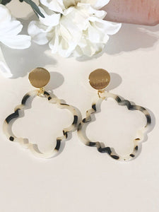 Giana Geometric Resin Brushed Metal Post Drop Silver Plated Brass Earrings