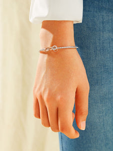 1pc Rhinestone Engraved Bow Knot Adjustable Bangle Bracelet