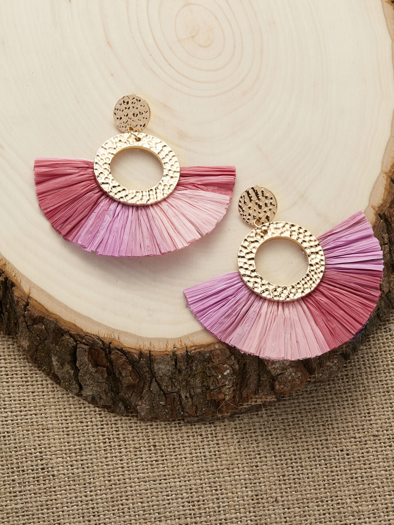 Multicolor Hammered Circle Colorblock Fringe Gold Dangle Earrings
