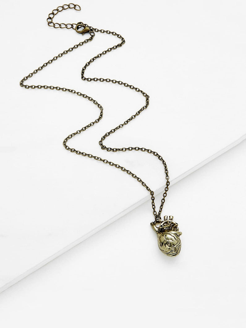 Brownish Golden Irregular Shaped Pendant Chain Necklace
