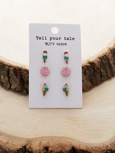 Multicolor Dessert Ice Cream Stud Earrings Set Of 3