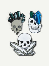 Load image into Gallery viewer, Multicolor 3pcs Skeleton & Crystal Shaped Metal Brooch Set