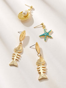 Golden Shell & Fishbone Design 2pairs Dangle Earrings