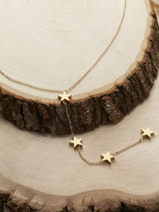 Golden Chain Star Detail Casual Lariat Necklace