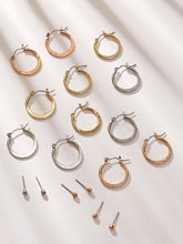 Load image into Gallery viewer, Golden And Silver Textured Detail 9 Pairs Hoop Stud Earrings