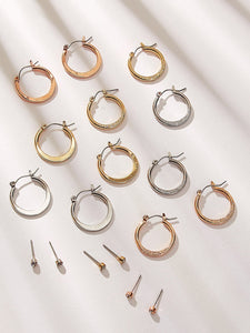 Golden And Silver Textured Detail 9 Pairs Hoop Stud Earrings