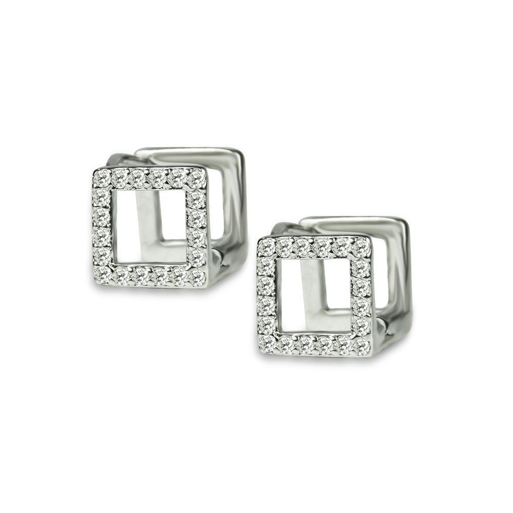 Pierre Cube Shaped With Crystals Stainless Steel Earrings