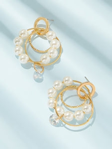 Golden Ring Circle With Faux Pearl Drop Dangle 1 Pair Earrings