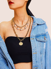 Load image into Gallery viewer, Multi Layered Golden Coin & Shell Pendant Chain 1pc Necklace