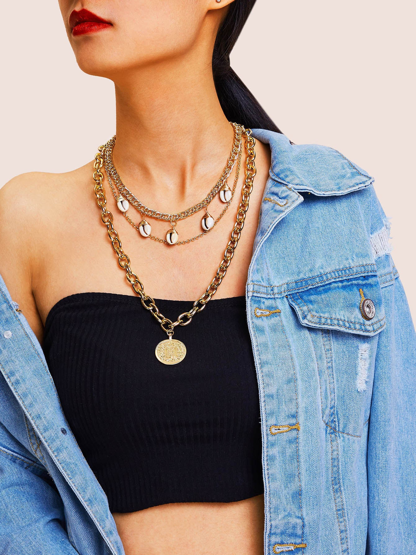 Multi Layered Golden Coin & Shell Pendant Chain 1pc Necklace
