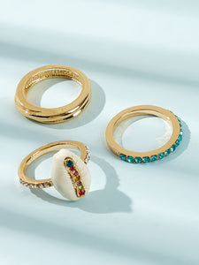 Multicolored Gemstone Engraved With Shell Golden 3pcs Ring