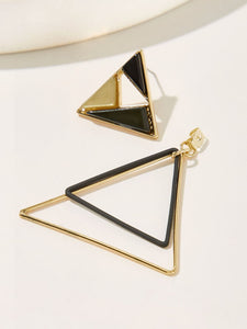 Multicolored Open Triangle Color-block Drop 1 Pair Earrings