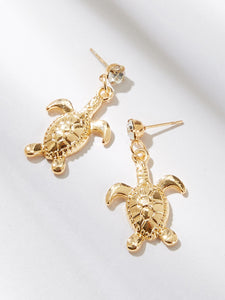Golden 1pair Tortoise Metal Drop Dangle Earrings