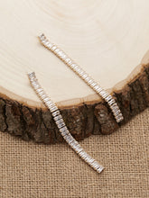 Load image into Gallery viewer, Baguette White Crystal Dangling Long Strip Earrings