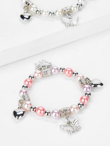 Multicolor 2pcs Heart Charm Beaded Silver Bracelet With Pearls