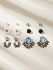 Multicolored Flower Gemstone 6 Pairs Stud Earrings