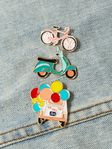 Multicolored Bicycle & Car 3pcs Brooch Set