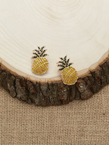 Pineapple Yellow And Green Rhinestone Crystal Stud Earrings