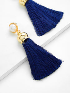 Navy Blue With Golden Tassel With Faux Pearl Dangle Earrings