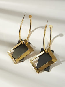Multicolor 1pair Rectangle Decor Metal Cut Hoop Drop Dangle Earrings
