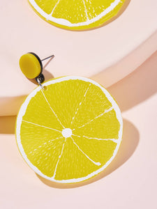 Yellow 1pair Lemon Shaped Drop Dangle Earrings