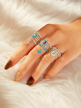Load image into Gallery viewer, Multicolor 10pcs Rhinestone Decor Metal Cross Charm Ring
