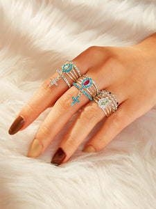 Multicolor 10pcs Rhinestone Decor Metal Cross Charm Ring