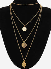 Load image into Gallery viewer, Multi Layered Coin & Cross Golden Pendant Necklace