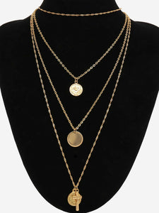 Multi Layered Coin & Cross Golden Pendant Necklace