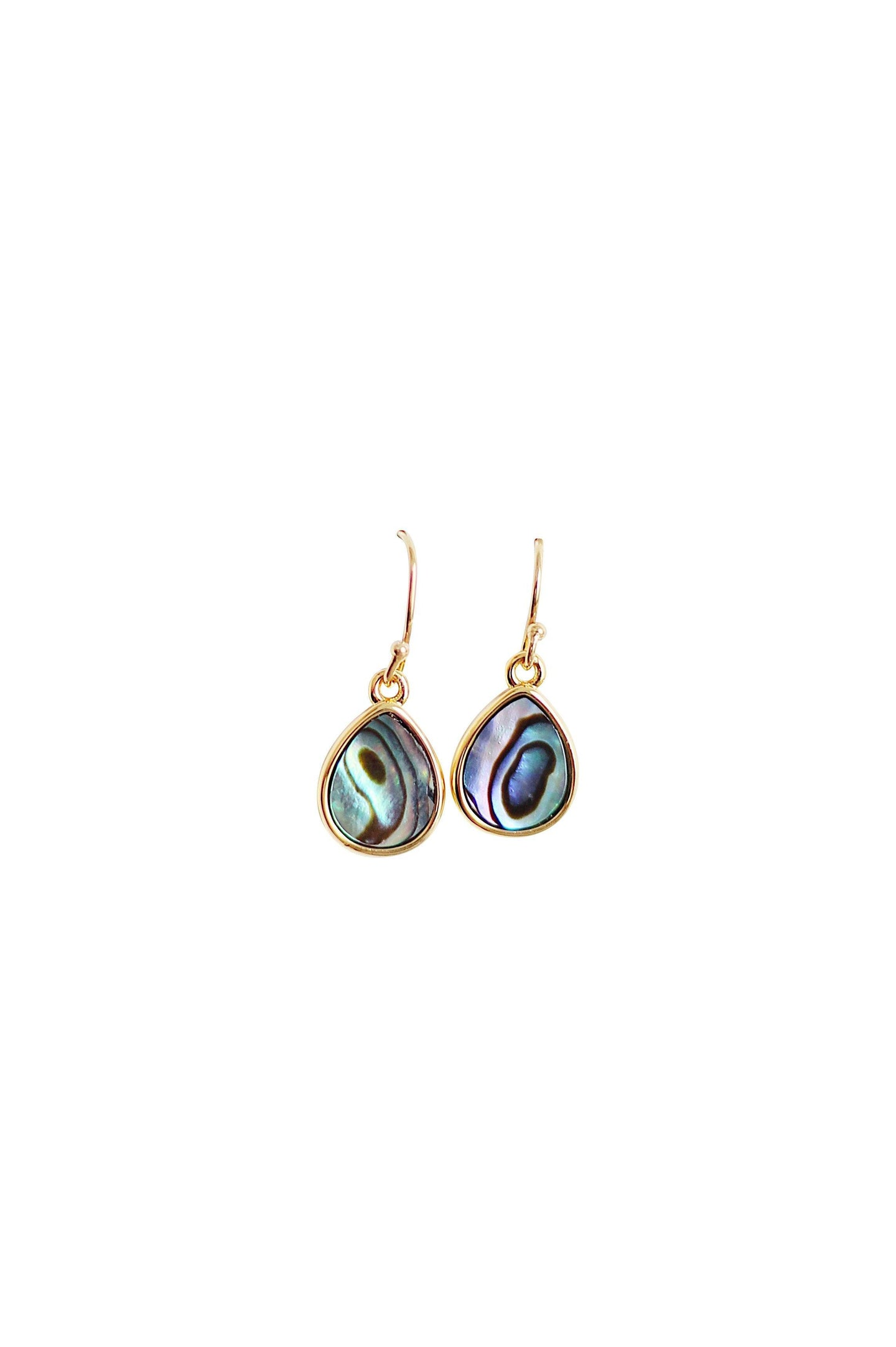 Abalone 14k Gold Coated Sterling Silver Teardrop Earrings