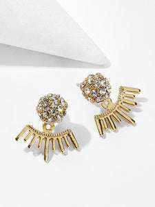 Golden Rhinestone Bar Detail Swing Stud Earrings 1pair