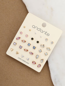 Multicolor Fifteen Pairs Of Colored Crystal Stud Earrings