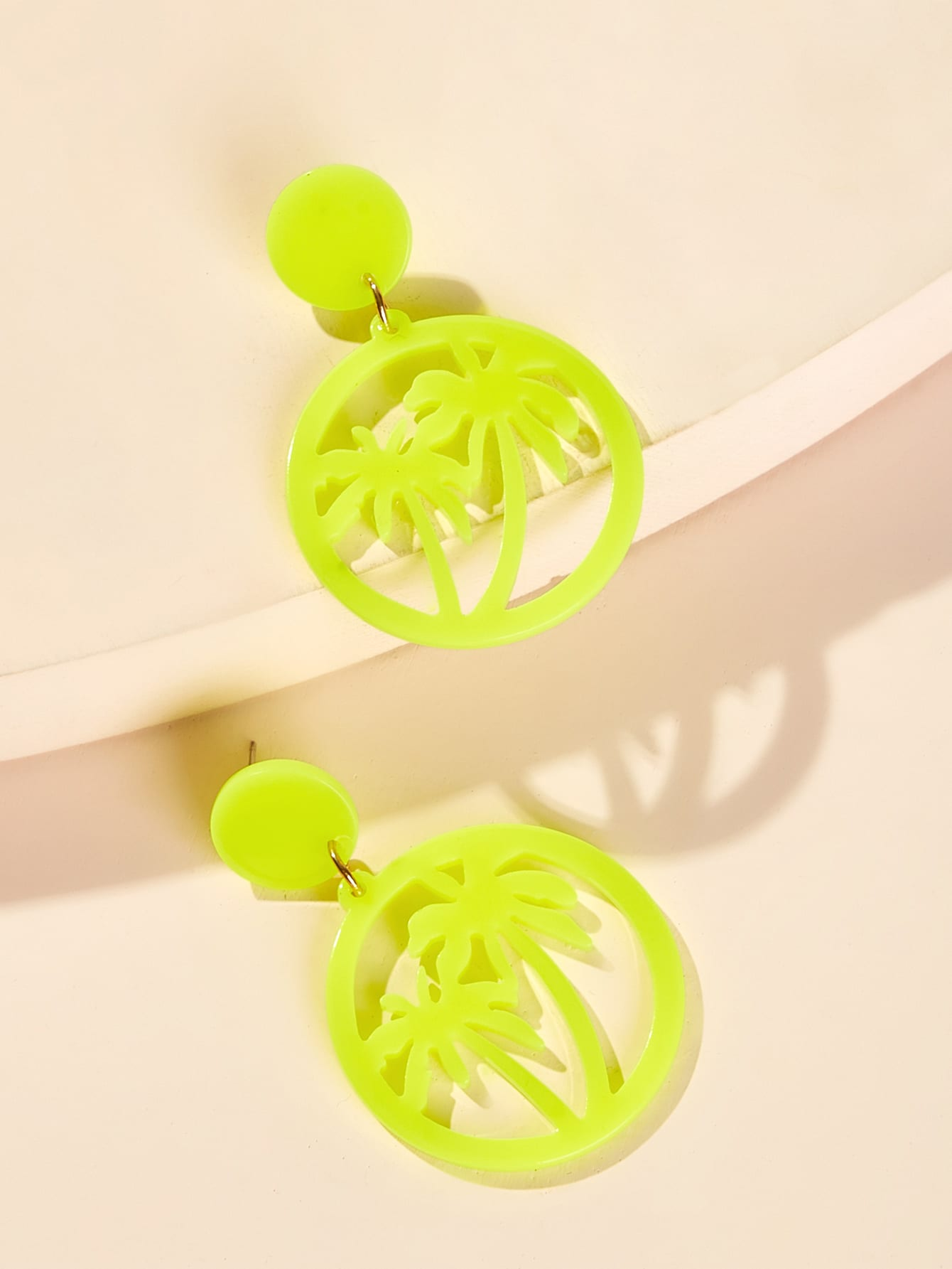 Coconut Tree Neon Yellow 1 Pair Hoop Earrings