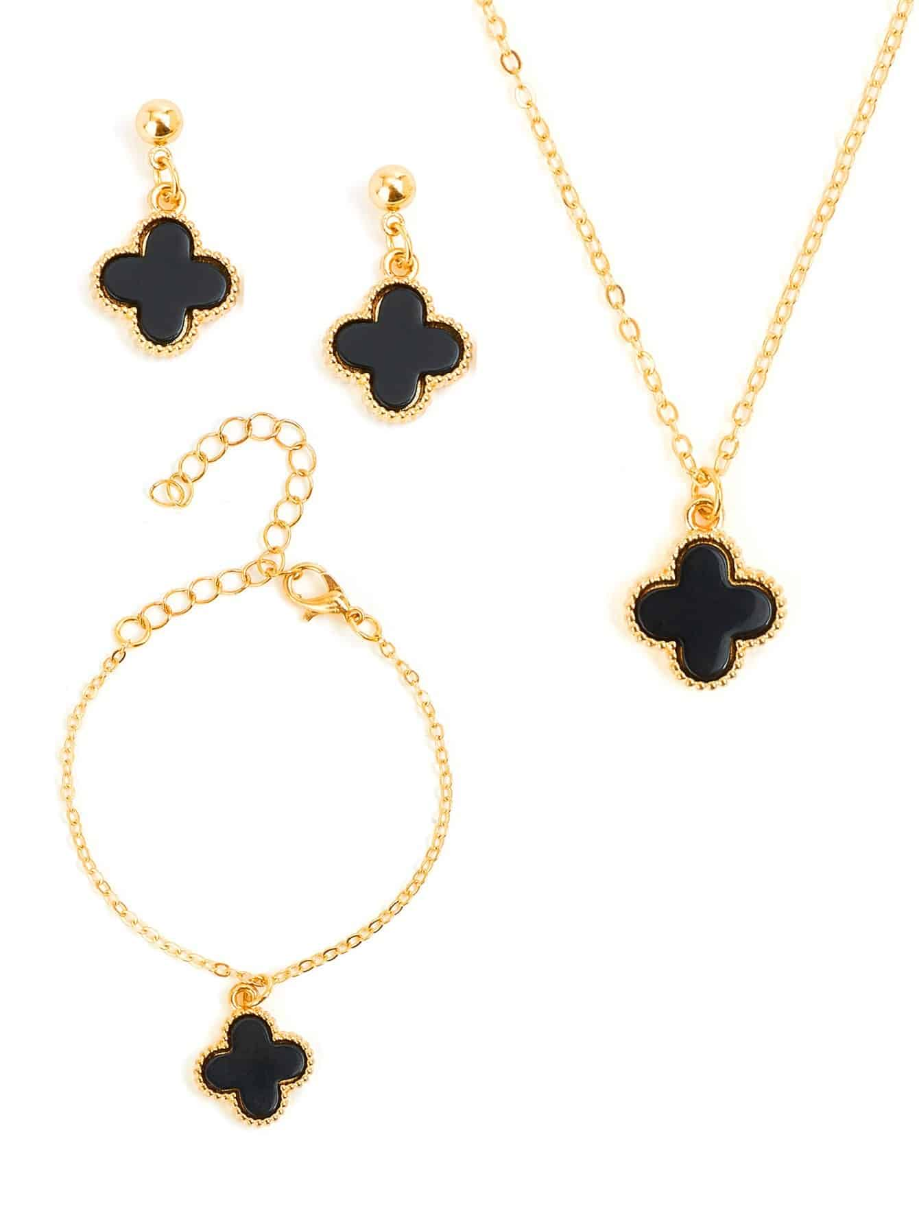Black With Golden Flower Charm With Earrings, Bracelet & Necklace