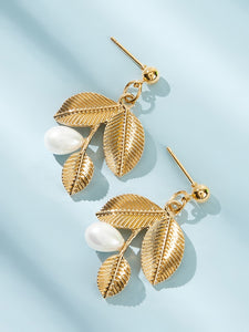 Golden Faux Pearl Decor 1pair Alloy Leaf Drop Dangle Earrings